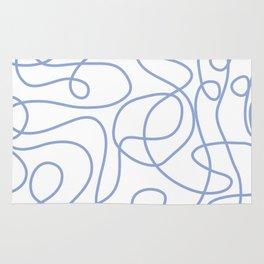 Doodle Line Art   Periwinkle Lines on White Background Rug