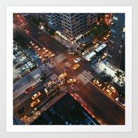 Taxi Central Art Print