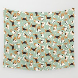beagle scatter mint Wall Tapestry