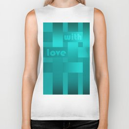 A satin ribbon .Turquoise background . With love. Biker Tank