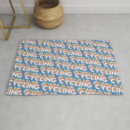 Cycling Trendy Rainbow Text Pattern (Blue) Rug