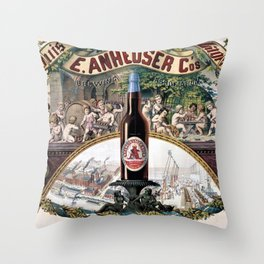Vintage 1879 St. Louis Anheuser Brewing Lithograph Wall Art Throw Pillow