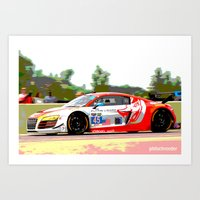 audi Art Prints featuring Flying Lizard Audi R8 | Road America by Phil Schroeder Design
