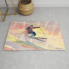Colorful Skiing Art Rug