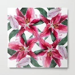 4 pink lilies Metal Print