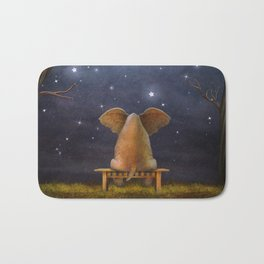 Illustration of a elephant on a bench in the night forest  Bath Mat