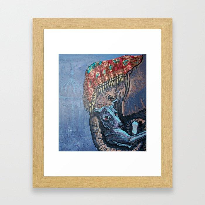 The elephant and the dog Framed Art Print