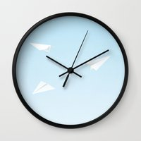 airplanes Wall Clocks featuring Paper Airplanes by Sara Showalter