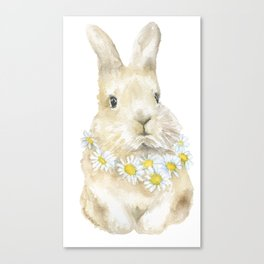 Bunny Rabbit with Daisy Wreath Watercolor Canvas Print
