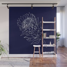 King Protea Outline - Navy and White Wall Mural