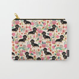 Doxie Florals - vintage doxie and florals gifts for dog lovers, dachshund decor, black and tan doxie Carry-All Pouch