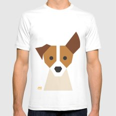 Jack Russell White Mens Fitted Tee MEDIUM