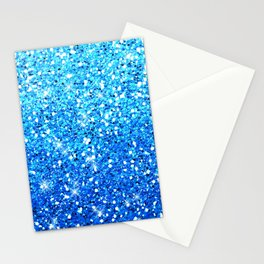 Blue Glitters Sparkles Texture Stationery Cards
