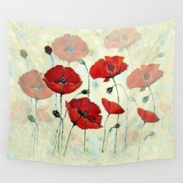 Red Poppy Garden Wall Tapestry