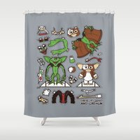 gizmo Shower Curtains featuring Dress up Gizmo and Gremlin by Hoborobo