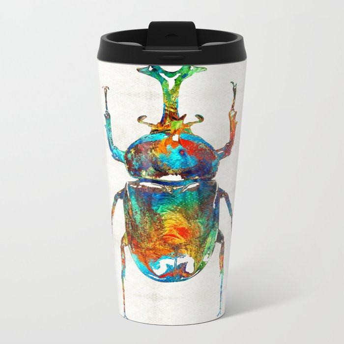 Colorful Beetle Art - Scarab Beauty - By Sharon Cummings Metal Travel Mug