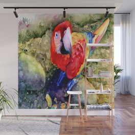 Macaw on a Rock Wall Mural