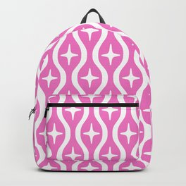 Mid century Modern Bulbous Star Pattern Pink Backpack