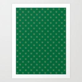 Tan Brown on Cadmium Green Snowflakes Art Print