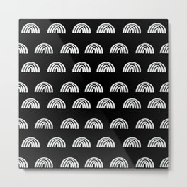 Linocut rainbow black and white half circle geometric minimalist nursery dorm college pattern Metal Print