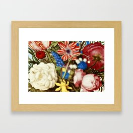 Colorful Still Life with Flowers and Insect Framed Art Print