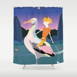 Bird boy and the hills Shower Curtain