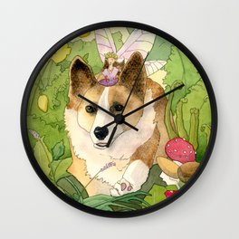 The Faerie and the Welsh Corgi Wall Clock