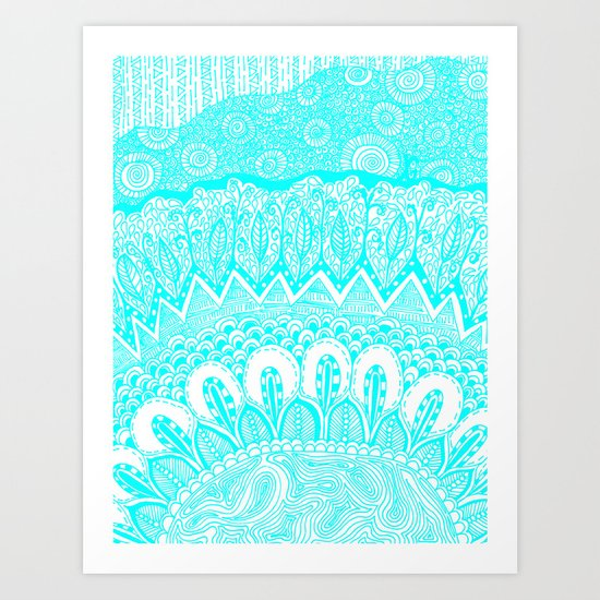 Blue and White Doodle Art Print