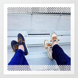 Bleacher Shoes & Blue Jeans Art Print