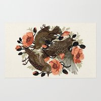 bird Area & Throw Rugs featuring Spangled & Plumed by Teagan White