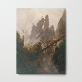 Caspar David Friedrich - Rocky Lanscape in the Elbe Sandstone Mountains Metal Print