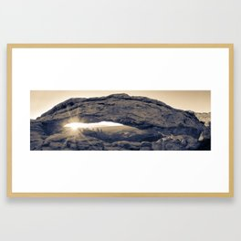 Mesa Arch Sunrise Panorama - Canyonlands National Park - Sepia Framed Art Print