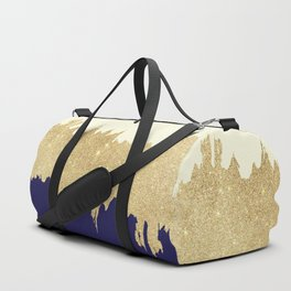 Navy blue ivory faux gold glitter brushstrokes Duffle Bag