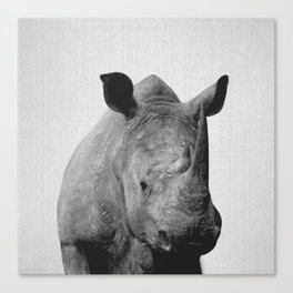 Rhino - Black & White Canvas Print
