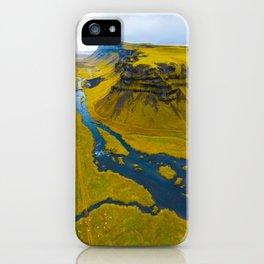 Scandinavian Grassland Landscape Dark Navy Rivers Aerial View photo iPhone Case
