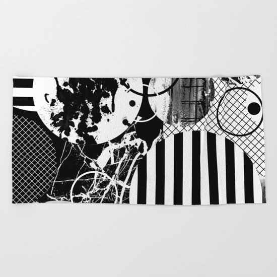 Black And White Choas - Mutli Patterned Multi Textured Abstract Beach Towel