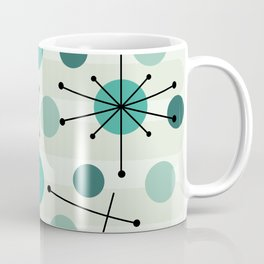 Atomic Age Dots And Starbursts Aquamarine Coffee Mug