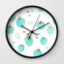 Strawberry summer love tropical hawaiian fruit Wall Clock