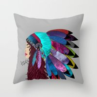 native american Throw Pillows featuring native american  by Lunah