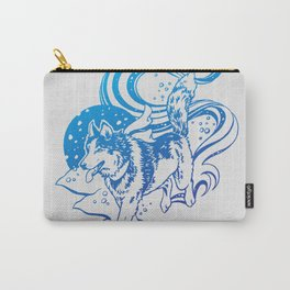 Winter Husky | Blue Ombré Carry-All Pouch