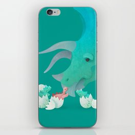 Triceratops Hugs by Ballsy Creative iPhone Skin