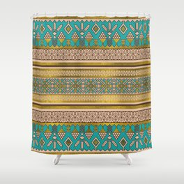 Mexican Style pattern - teal, gold and earthy colors Shower Curtain