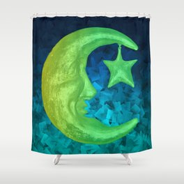 Magical Shining Half Moon with Star Shower Curtain