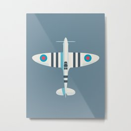 Supermarine Spitfire WWII RAF Royal Air Force Fighter Aircraft - Stripe Slate Metal Print