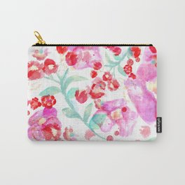 Summer watercolor flowers hot pink blossom Carry-All Pouch