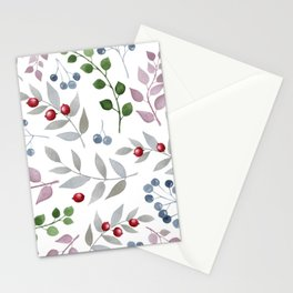 Watercolors leafs and red berries seamless pattern Stationery Cards