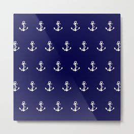 navy blue and white anchor zzz Metal Print