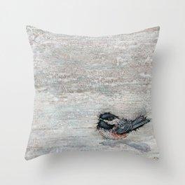 Weathered Chickadees Throw Pillow