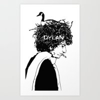 dylan Art Prints featuring Dylan by Sy Graham