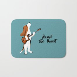 Basset the Bassist (Blue-Gray) Bath Mat